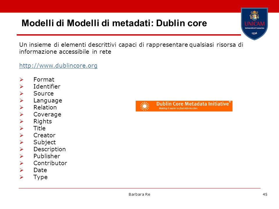 Modelli di Modelli di metadati: Dublin core