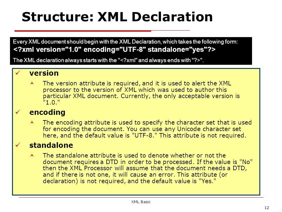 Structure: XML Declaration