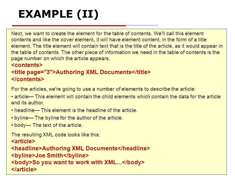 EXAMPLE (II) <contents>