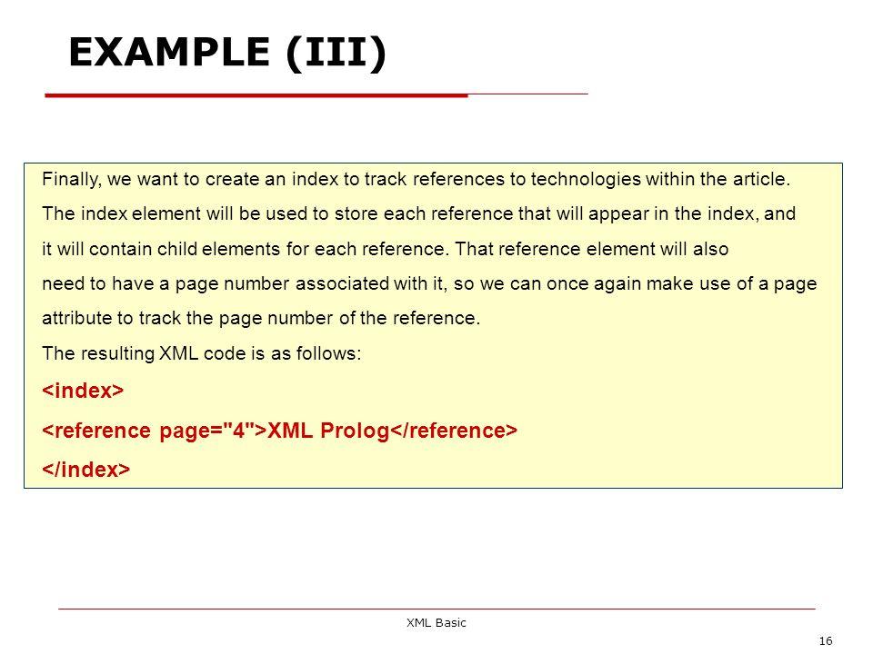 EXAMPLE (III) <index>