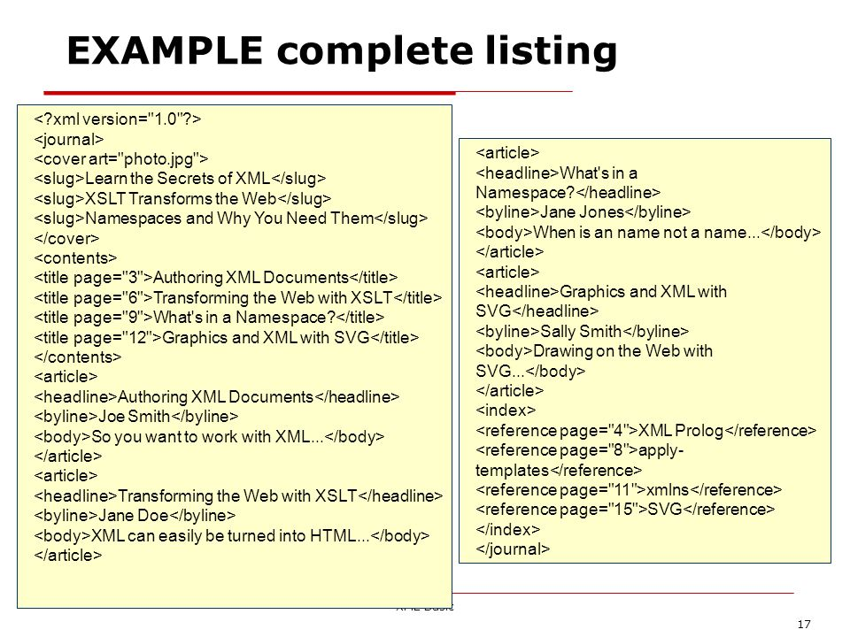 EXAMPLE complete listing