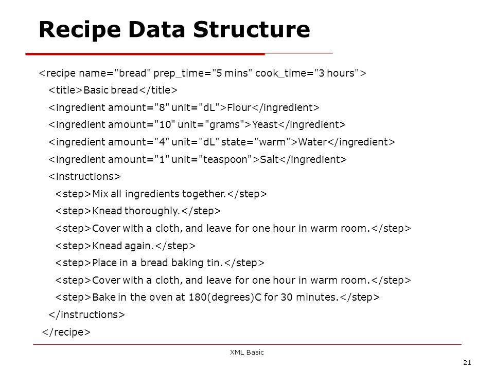 Recipe Data Structure <recipe name= bread prep_time= 5 mins cook_time= 3 hours > <title>Basic bread</title>