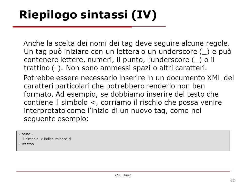 Riepilogo sintassi (IV)
