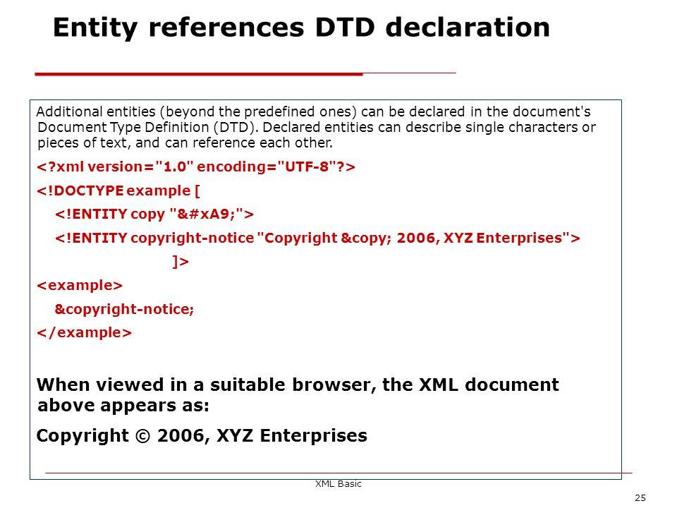 Entity references DTD declaration