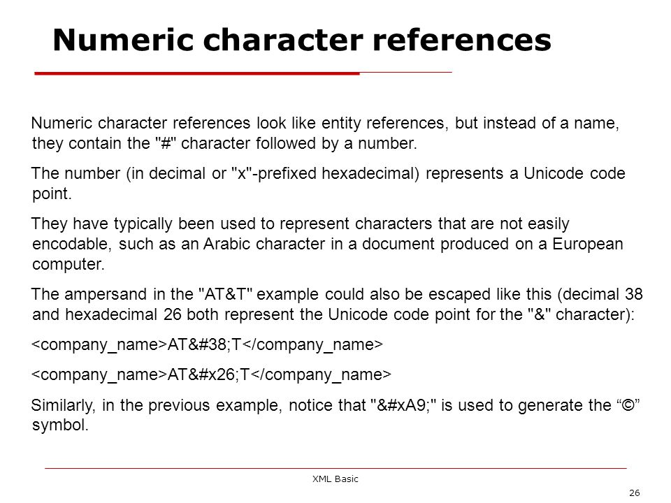 Numeric character references
