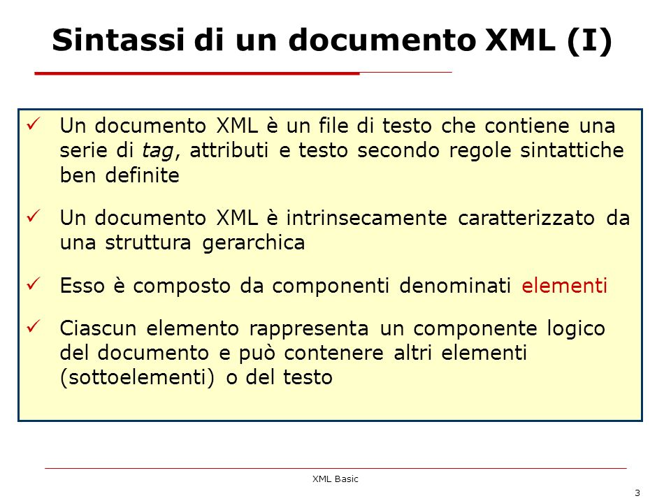 Sintassi di un documento XML (I)