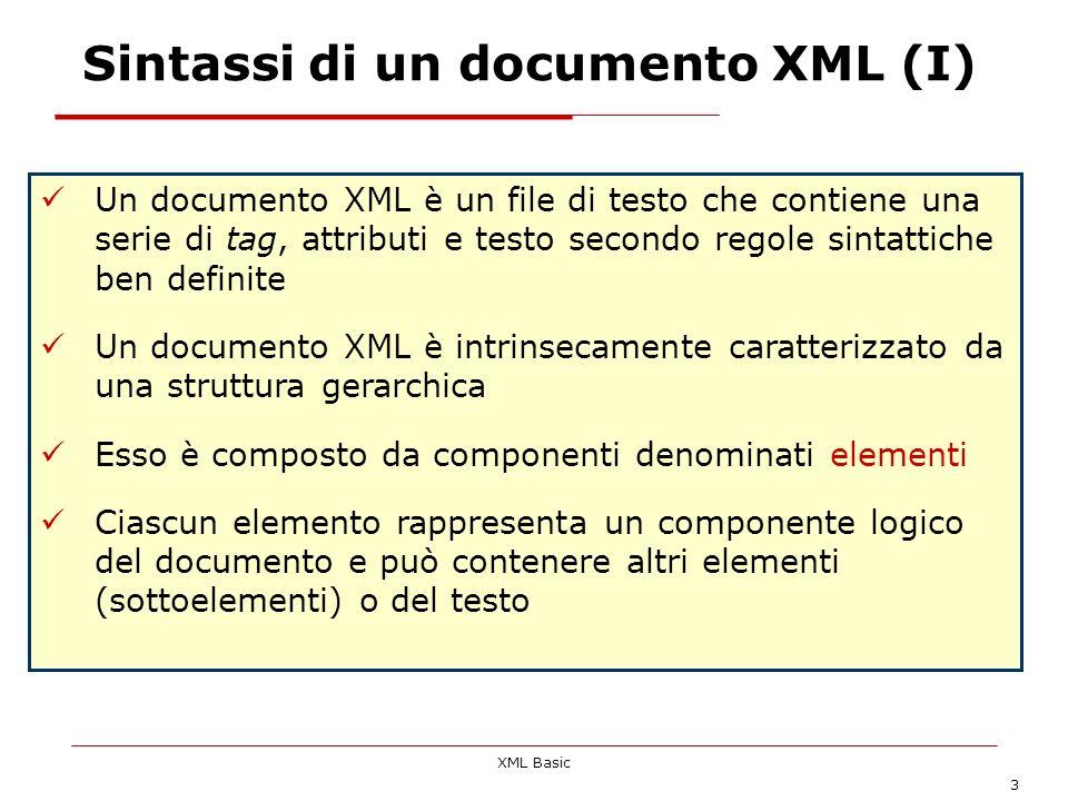 Sintassi di un documento XML (I)