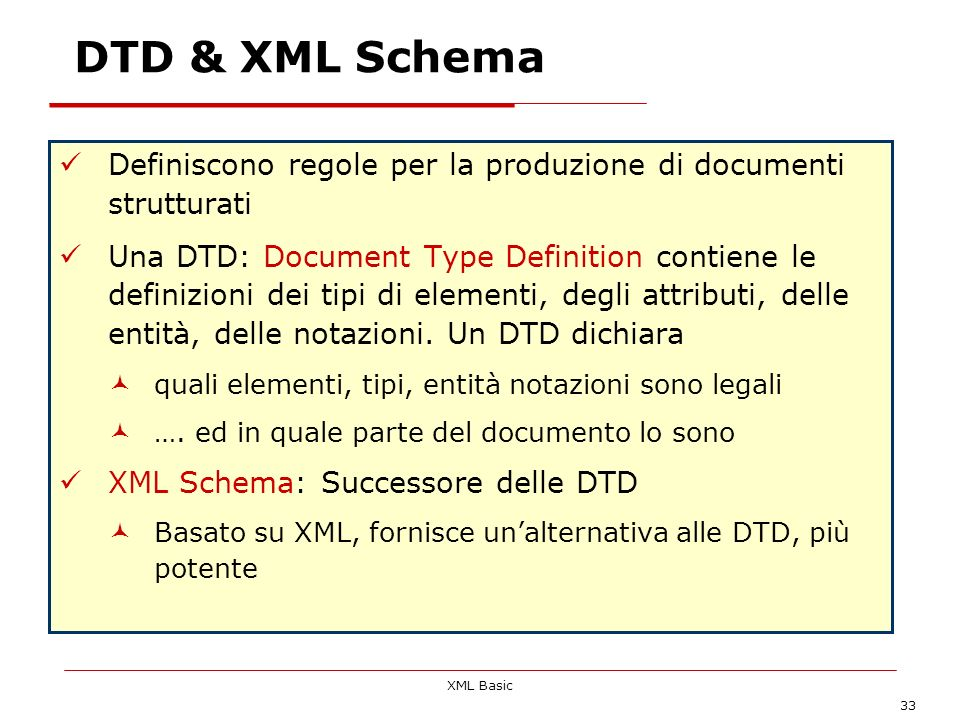 DTD & XML Schema Definiscono regole per la produzione di documenti strutturati.