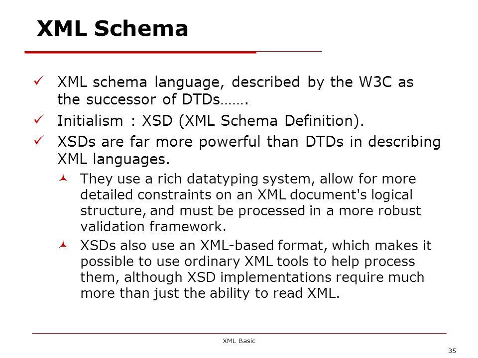 XML Schema XML schema language, described by the W3C as the successor of DTDs……. Initialism : XSD (XML Schema Definition).