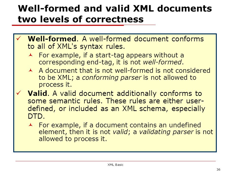 Well-formed and valid XML documents two levels of correctness