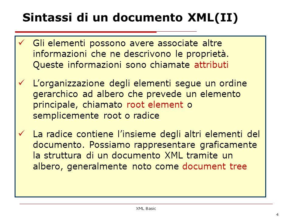 Sintassi di un documento XML(II)