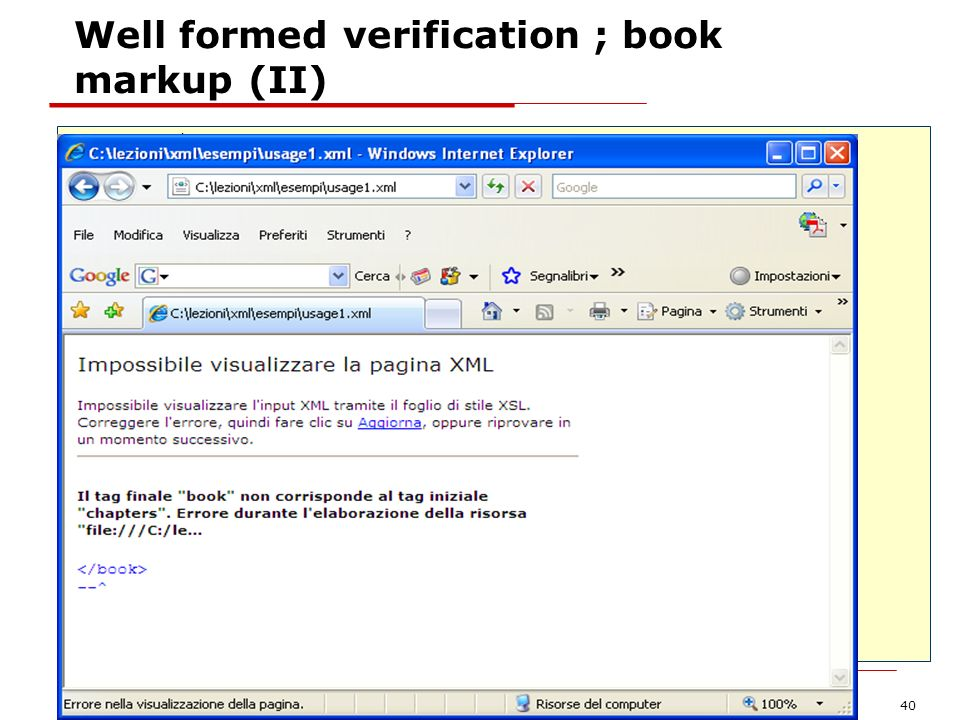 Well formed verification ; book markup (II)
