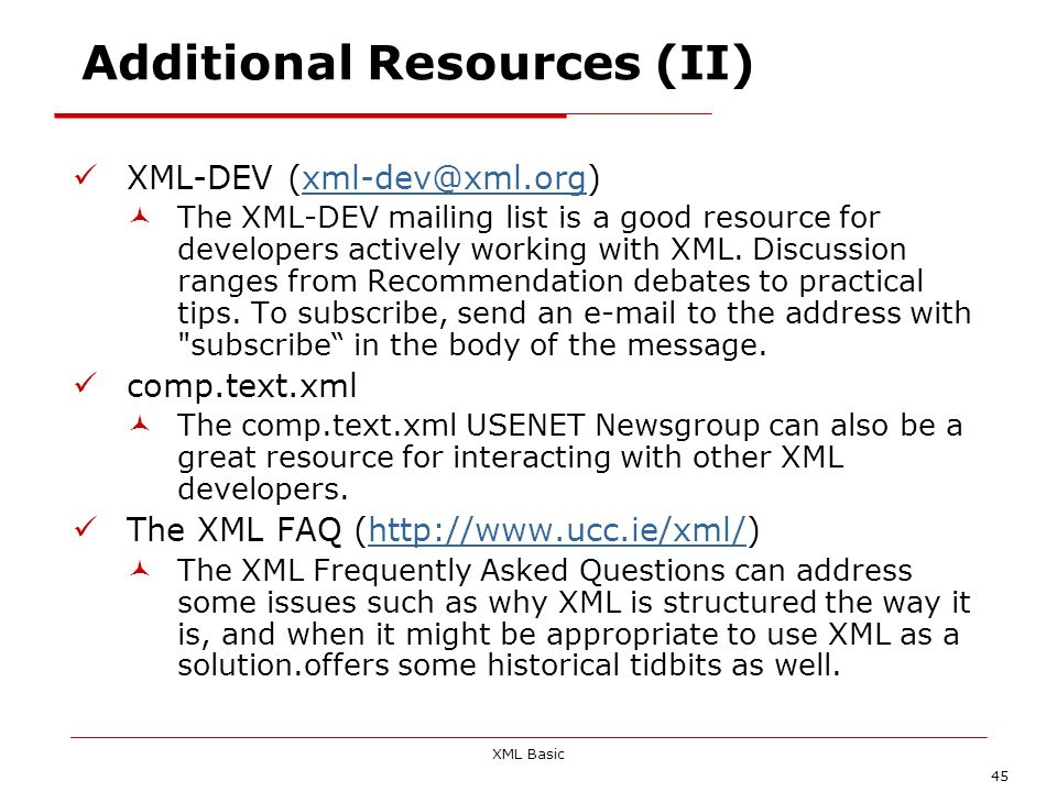 Additional Resources (II)