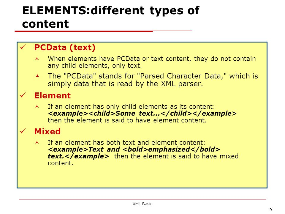 ELEMENTS:different types of content