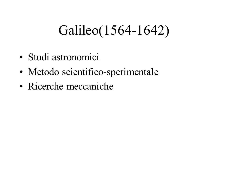 Galileo(1564-1642) Studi astronomici Metodo scientifico-sperimentale