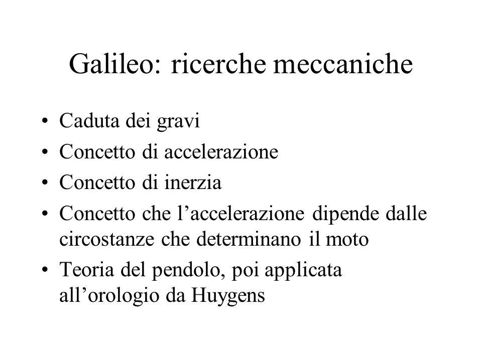 Galileo: ricerche meccaniche