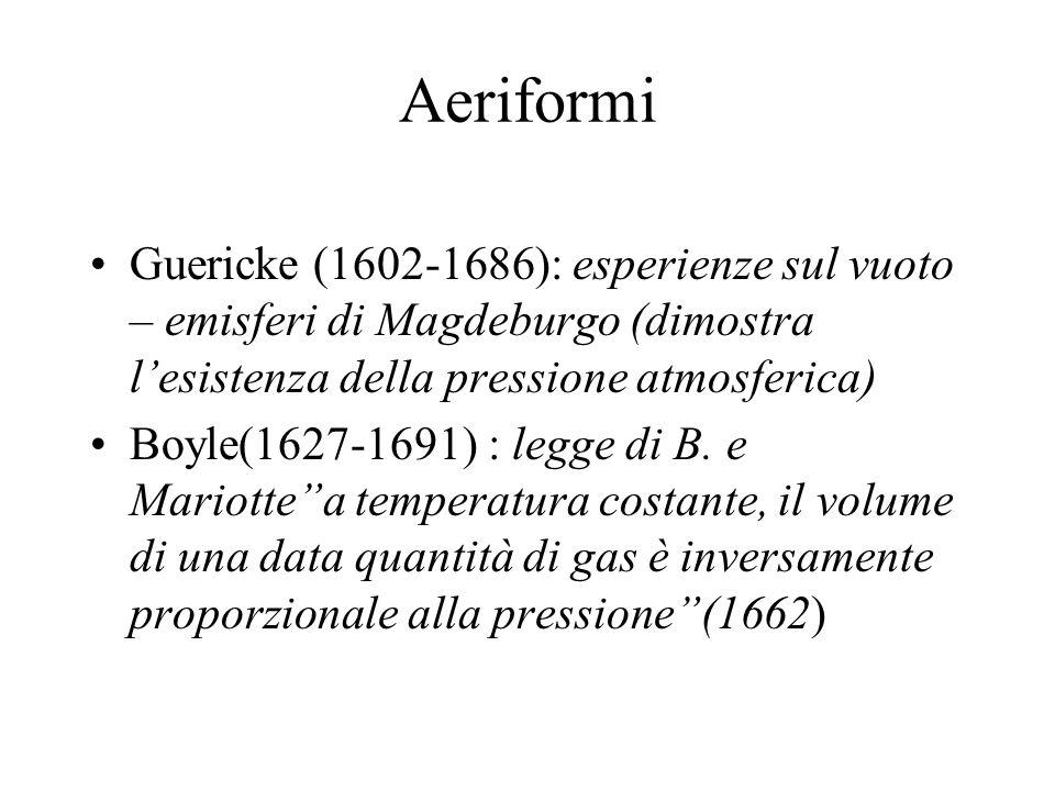 Aeriformi Guericke (1602-1686): esperienze sul vuoto – emisferi di Magdeburgo (dimostra l'esistenza della pressione atmosferica)