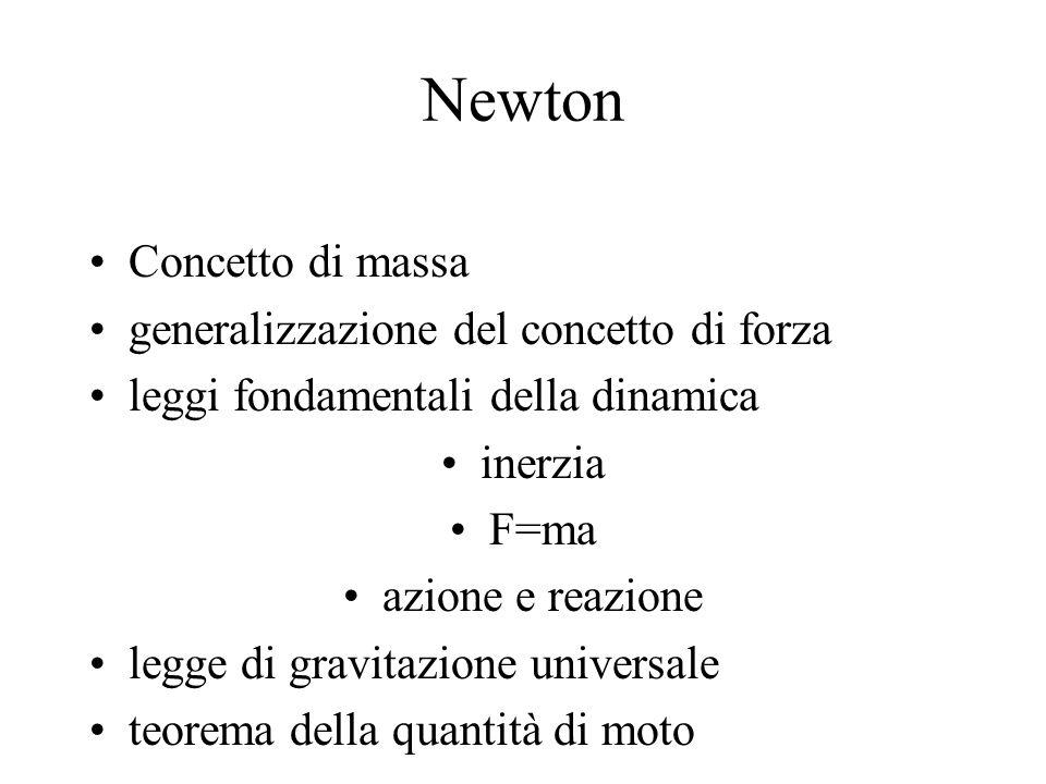Newton Concetto di massa generalizzazione del concetto di forza