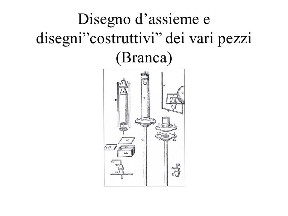 Disegno d'assieme e disegni costruttivi dei vari pezzi (Branca)