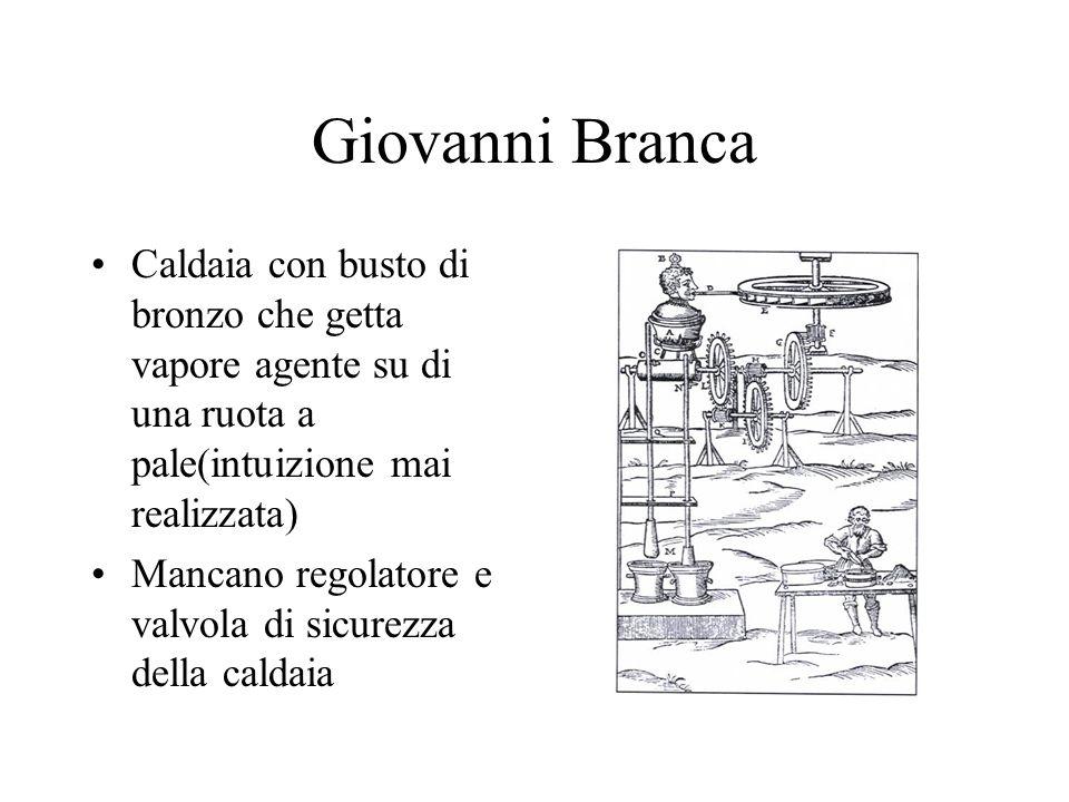 Giovanni Branca Caldaia con busto di bronzo che getta vapore agente su di una ruota a pale(intuizione mai realizzata)