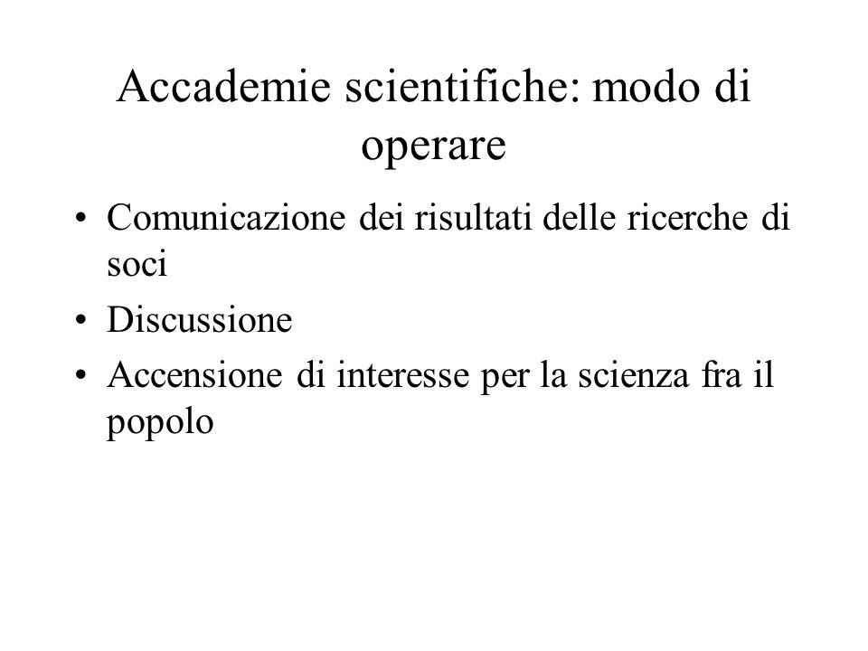 Accademie scientifiche: modo di operare