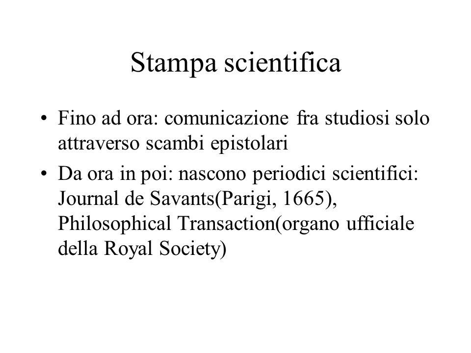 Stampa scientifica Fino ad ora: comunicazione fra studiosi solo attraverso scambi epistolari.