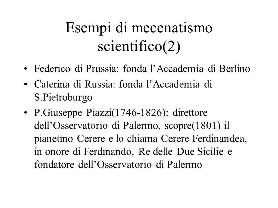 Esempi di mecenatismo scientifico(2)