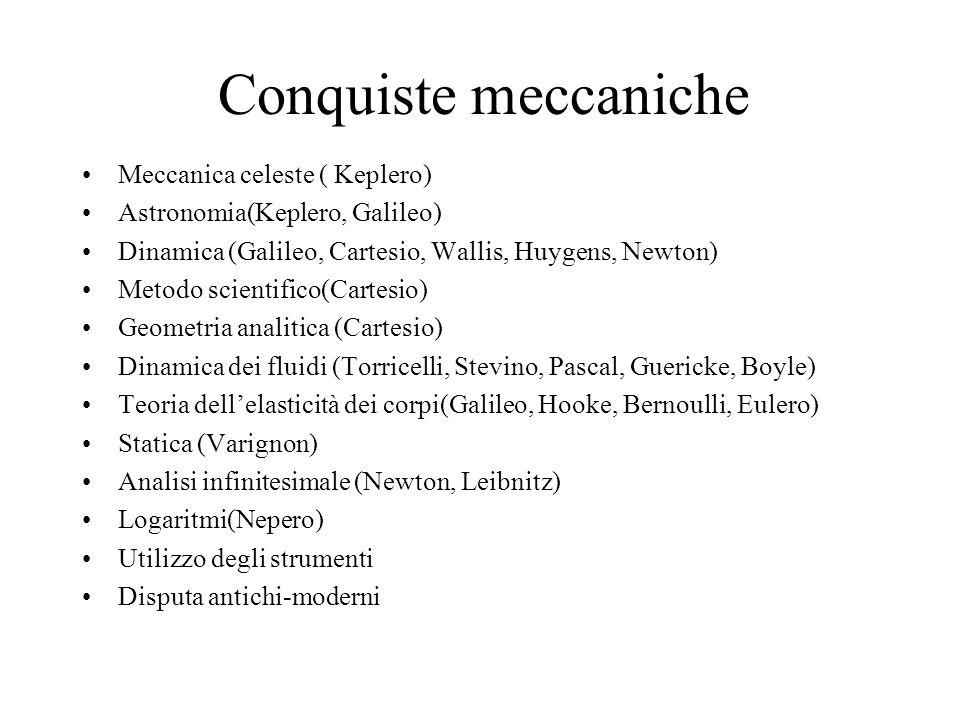 Conquiste meccaniche Meccanica celeste ( Keplero)
