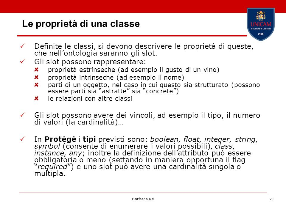 Le proprietà di una classe