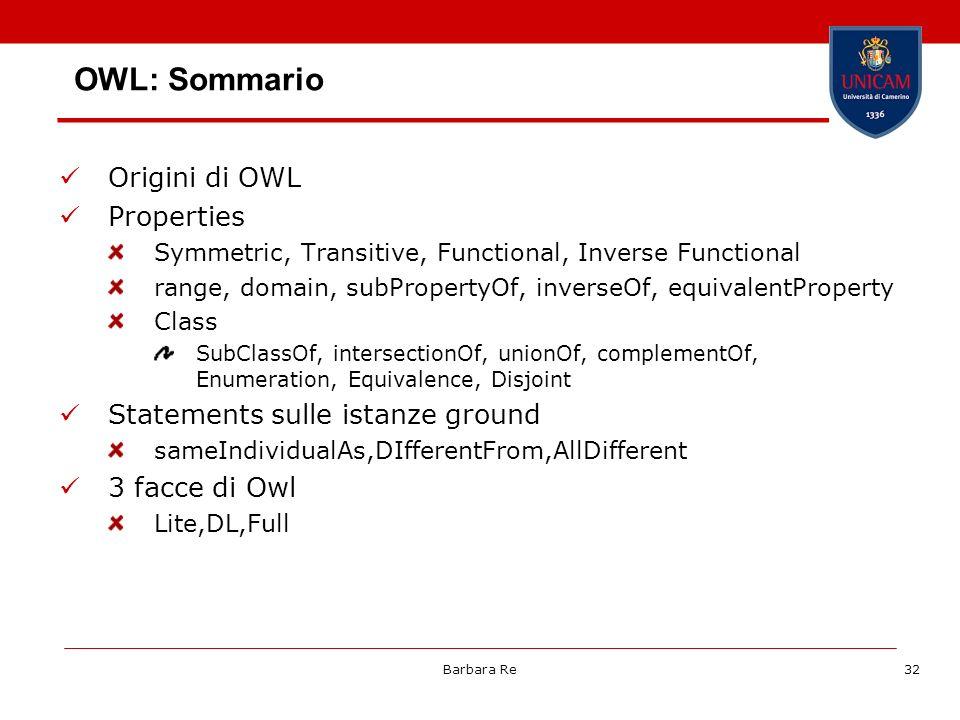 OWL: Sommario Origini di OWL Properties
