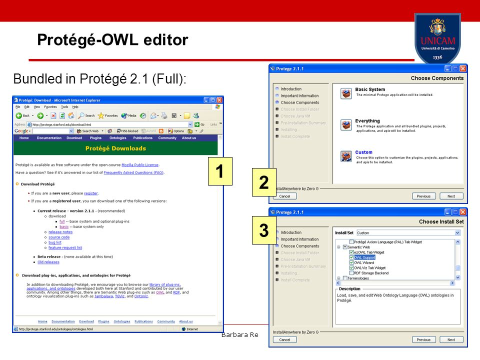 Protégé-OWL editor Bundled in Protégé 2.1 (Full): 1 2 3 Barbara Re