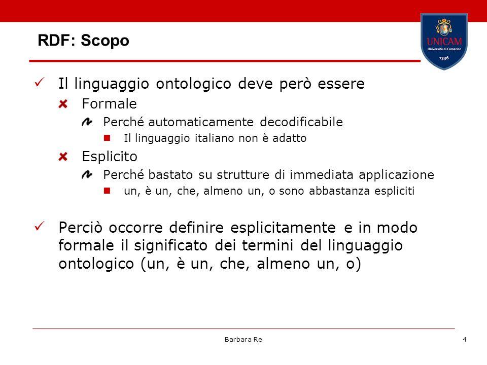 RDF: Scopo Il linguaggio ontologico deve però essere