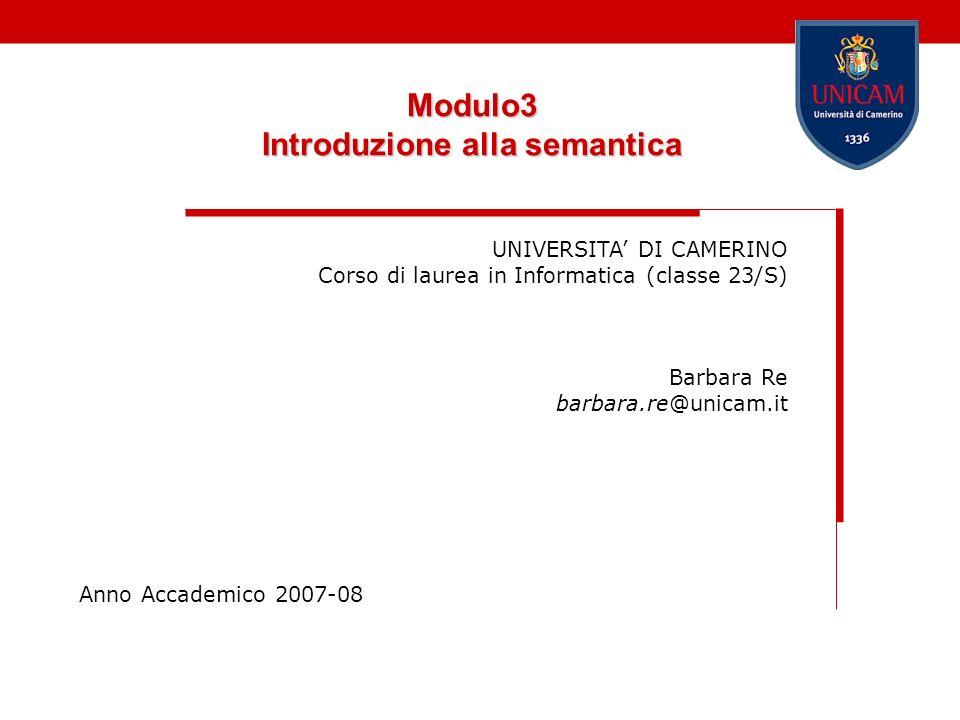 Modulo3 Introduzione alla semantica