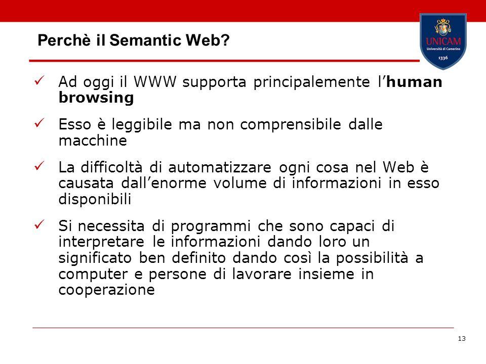 Perchè il Semantic Web Ad oggi il WWW supporta principalemente l'human browsing. Esso è leggibile ma non comprensibile dalle macchine.