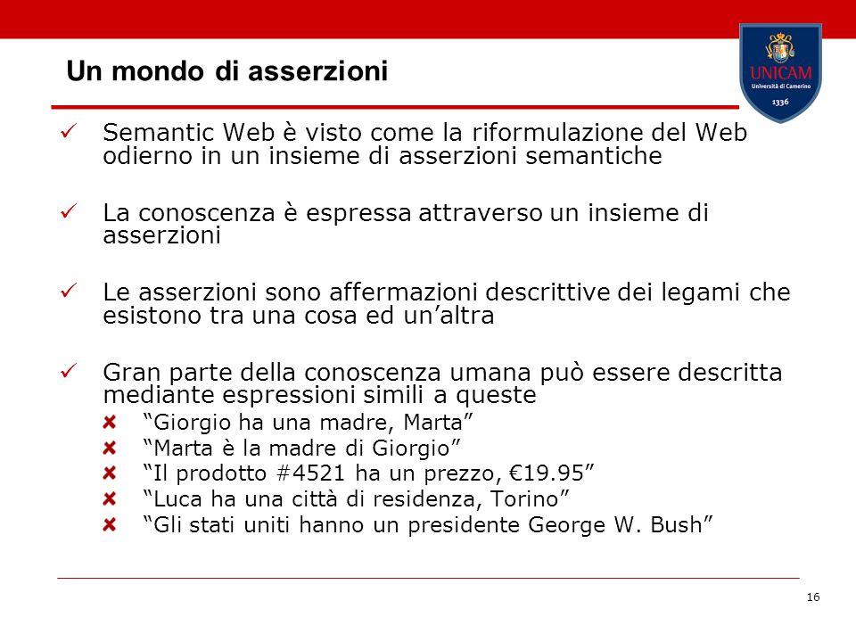 Un mondo di asserzioniSemantic Web è visto come la riformulazione del Web odierno in un insieme di asserzioni semantiche.