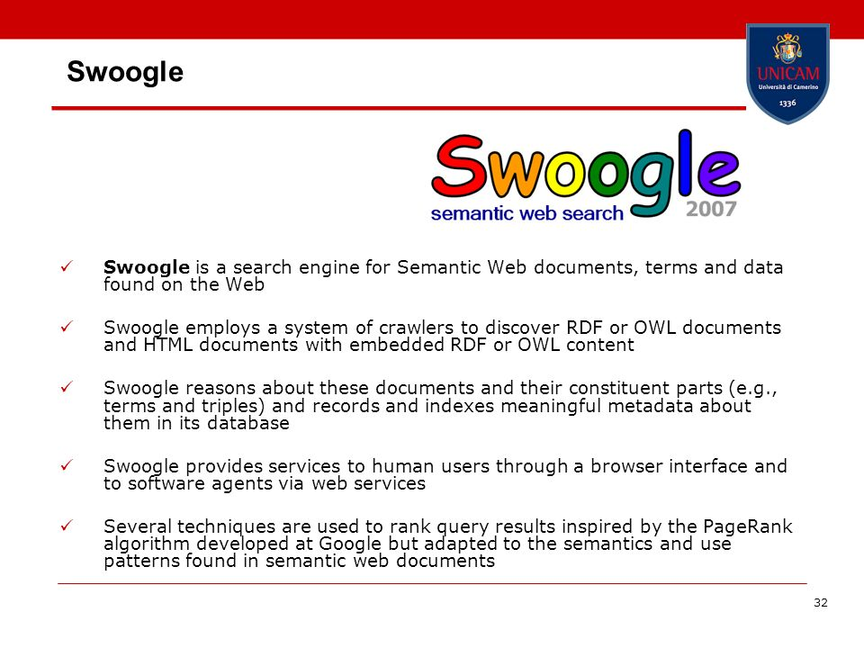 SwoogleSwoogle is a search engine for Semantic Web documents, terms and data found on the Web.