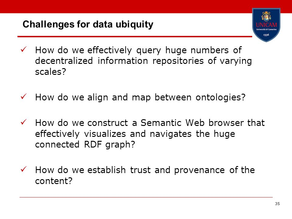 Challenges for data ubiquity