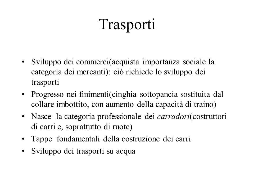 Trasporti Sviluppo dei commerci(acquista importanza sociale la categoria dei mercanti): ciò richiede lo sviluppo dei trasporti.