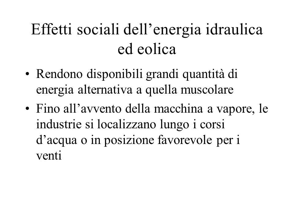 Effetti sociali dell'energia idraulica ed eolica