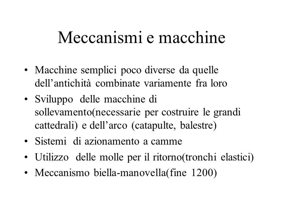 Meccanismi e macchine Macchine semplici poco diverse da quelle dell'antichità combinate variamente fra loro.
