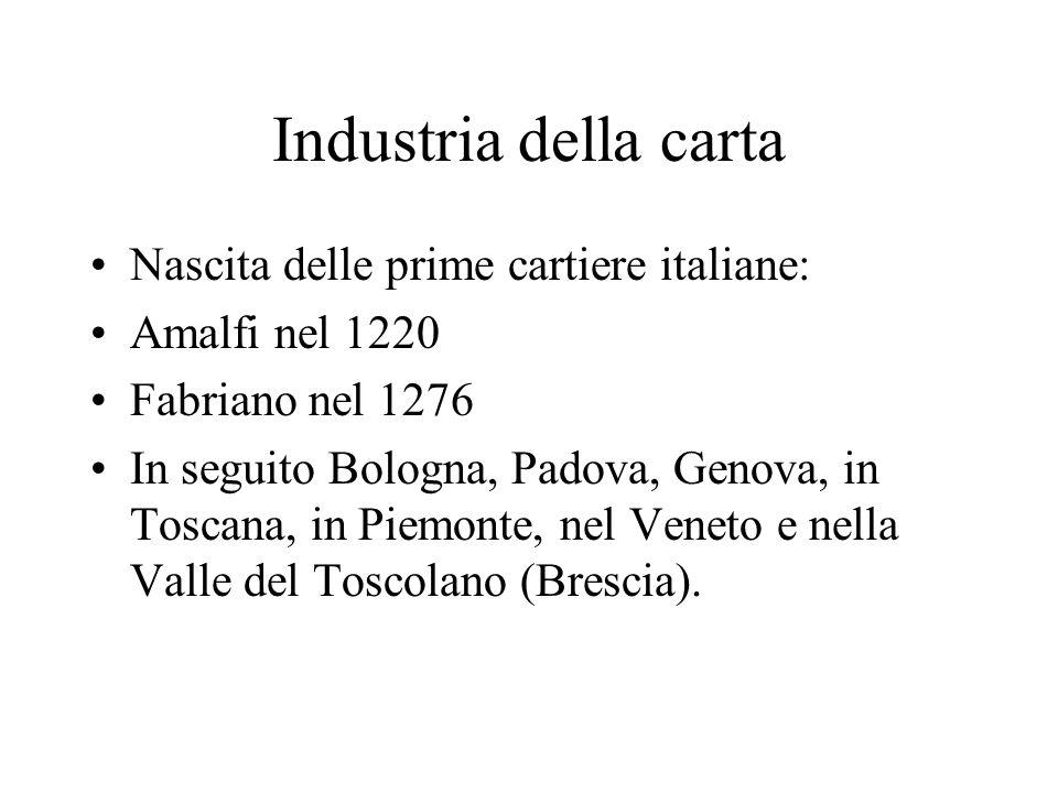 Industria della carta Nascita delle prime cartiere italiane:
