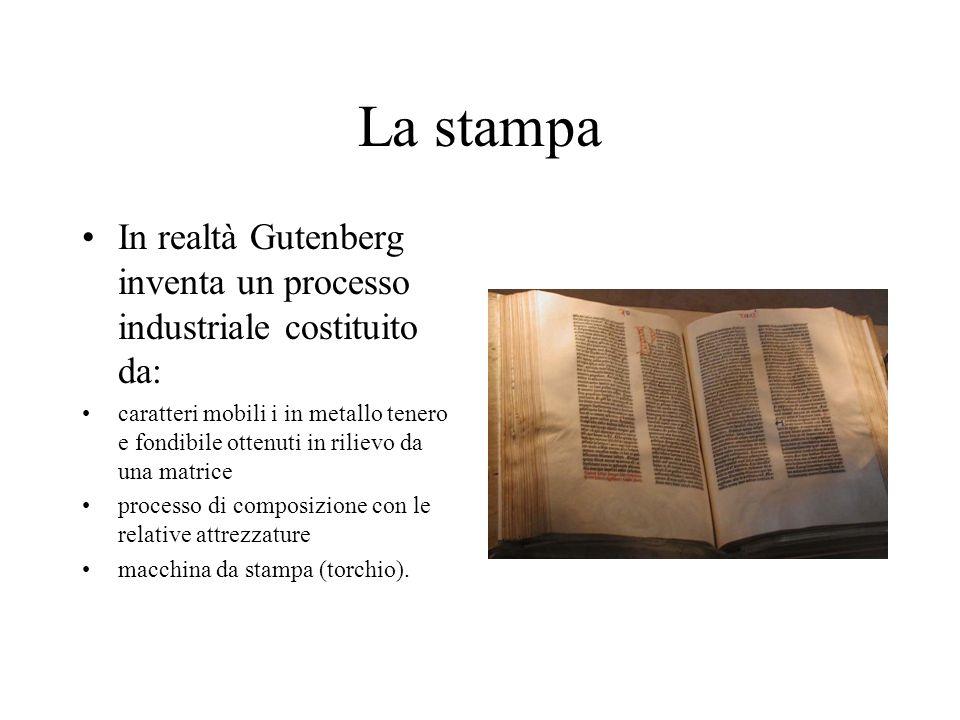 La stampa In realtà Gutenberg inventa un processo industriale costituito da: