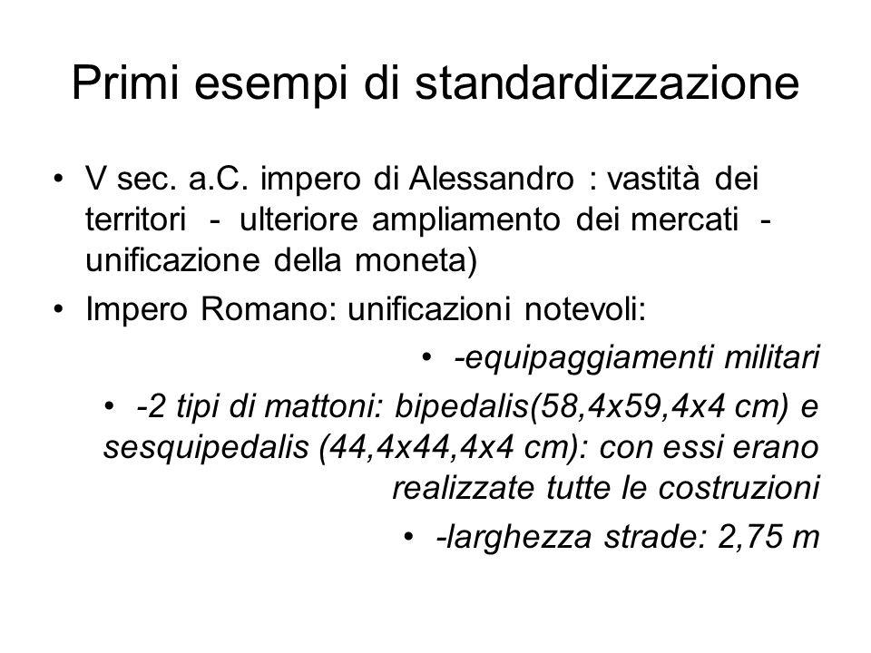 Primi esempi di standardizzazione