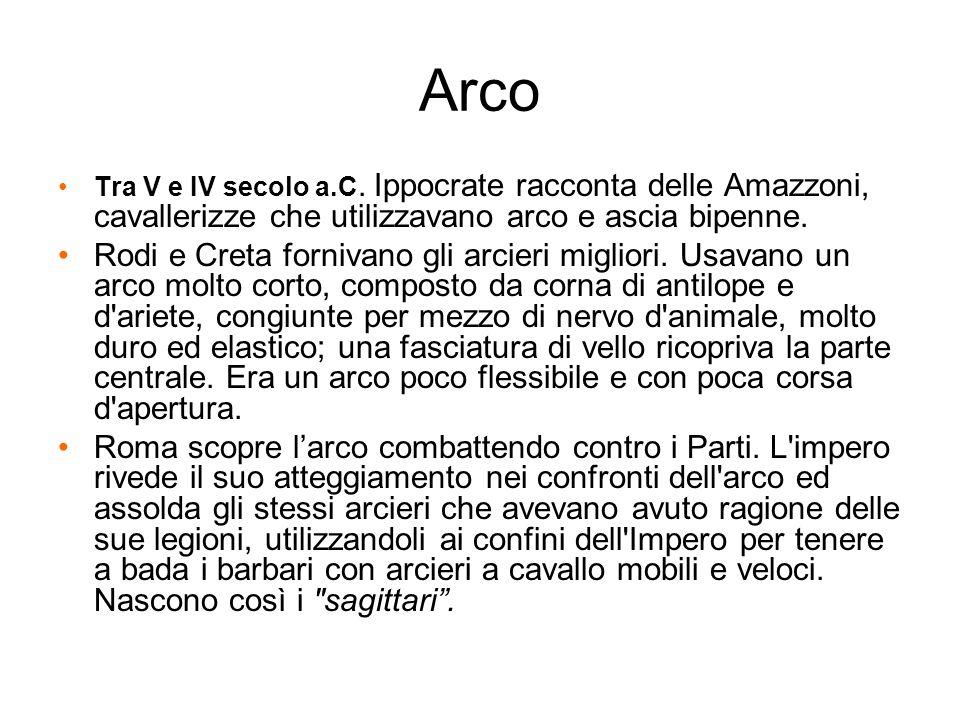 Arco Tra V e IV secolo a.C. Ippocrate racconta delle Amazzoni, cavallerizze che utilizzavano arco e ascia bipenne.