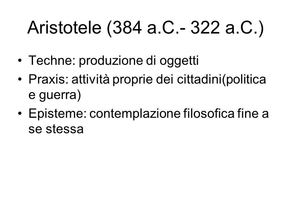 Aristotele (384 a.C.- 322 a.C.) Techne: produzione di oggetti