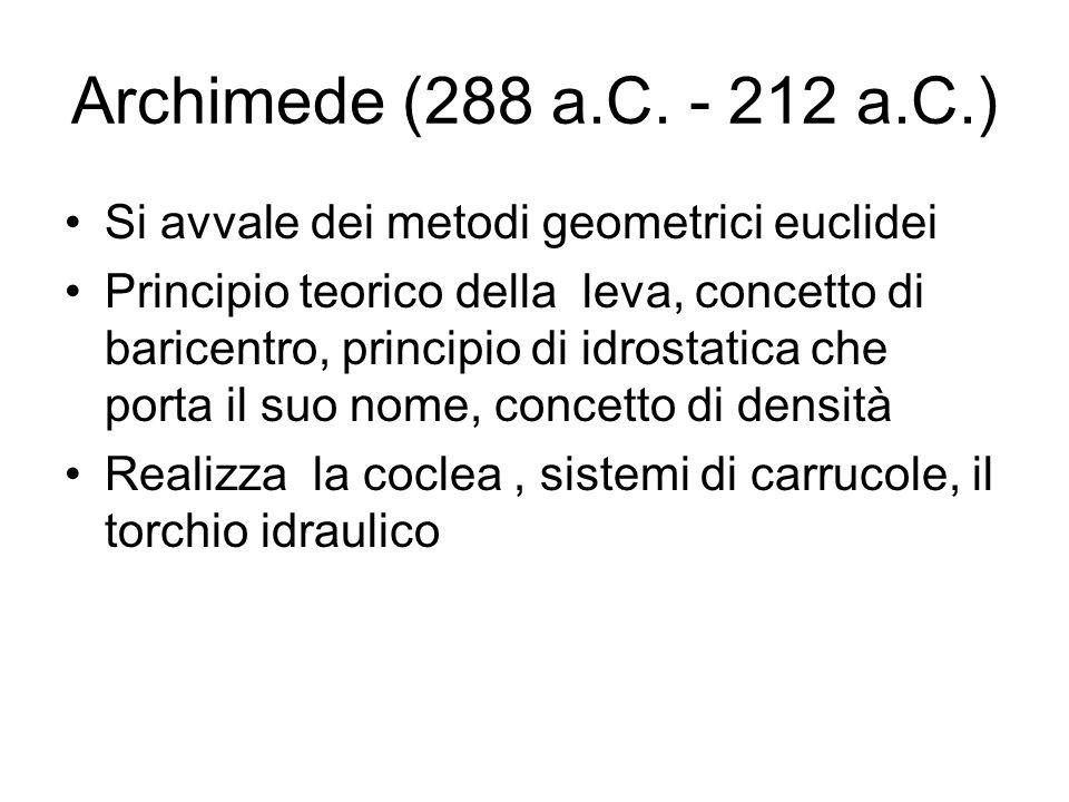Archimede (288 a.C. - 212 a.C.) Si avvale dei metodi geometrici euclidei.
