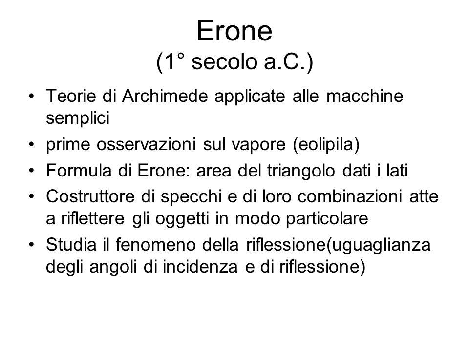 Erone (1° secolo a.C.)Teorie di Archimede applicate alle macchine semplici. prime osservazioni sul vapore (eolipila)