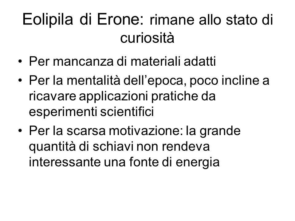 Eolipila di Erone: rimane allo stato di curiosità