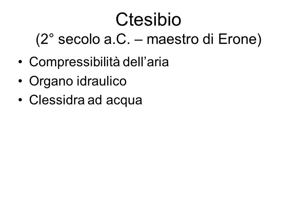 Ctesibio (2° secolo a.C. – maestro di Erone)