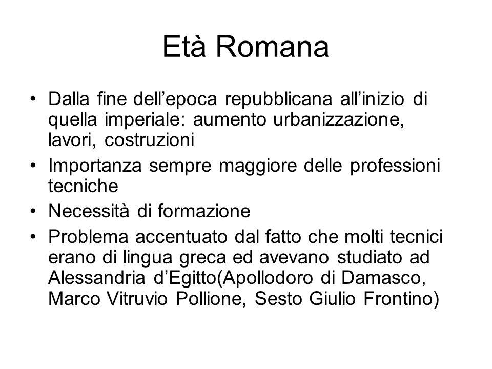 Età Romana Dalla fine dell'epoca repubblicana all'inizio di quella imperiale: aumento urbanizzazione, lavori, costruzioni.